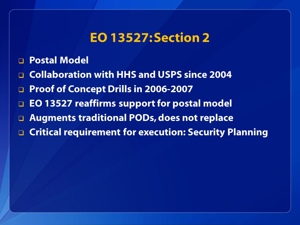 EO 13527: Section 2 Postal Model