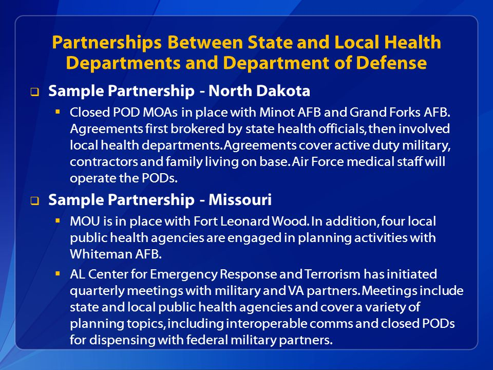 Partnerships Between State and Local Health Departments and Department of Defense