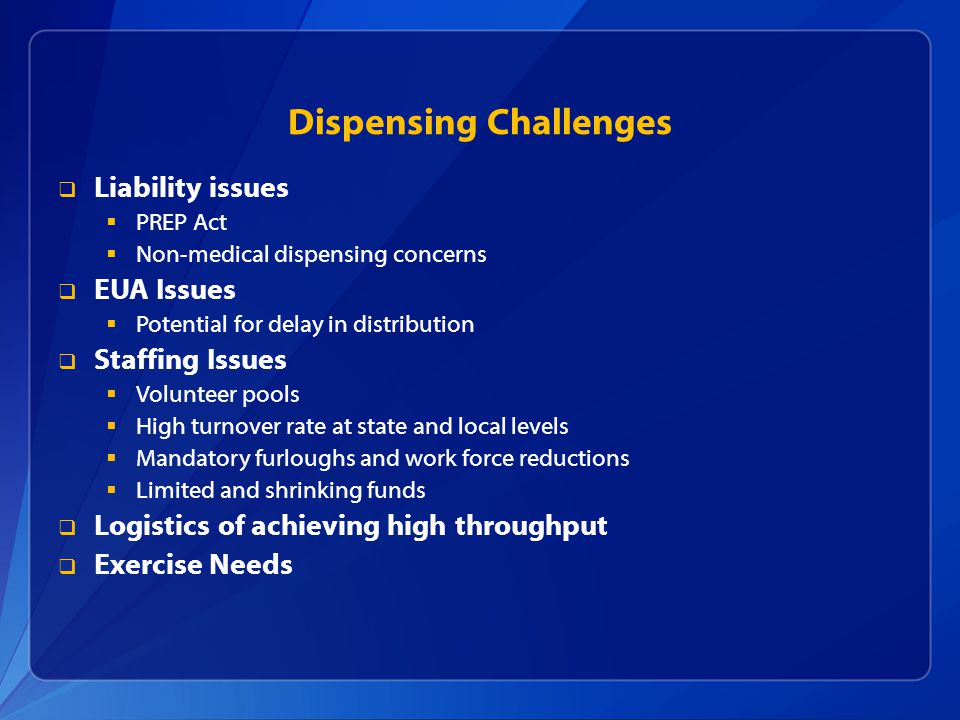 Dispensing Challenges
