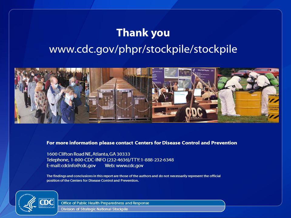 Thank you www.cdc.gov/phpr/stockpile/stockpile