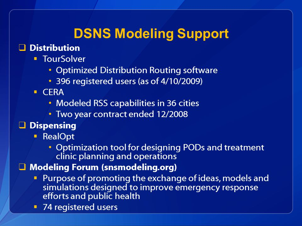 DSNS Modeling Support Distribution TourSolver