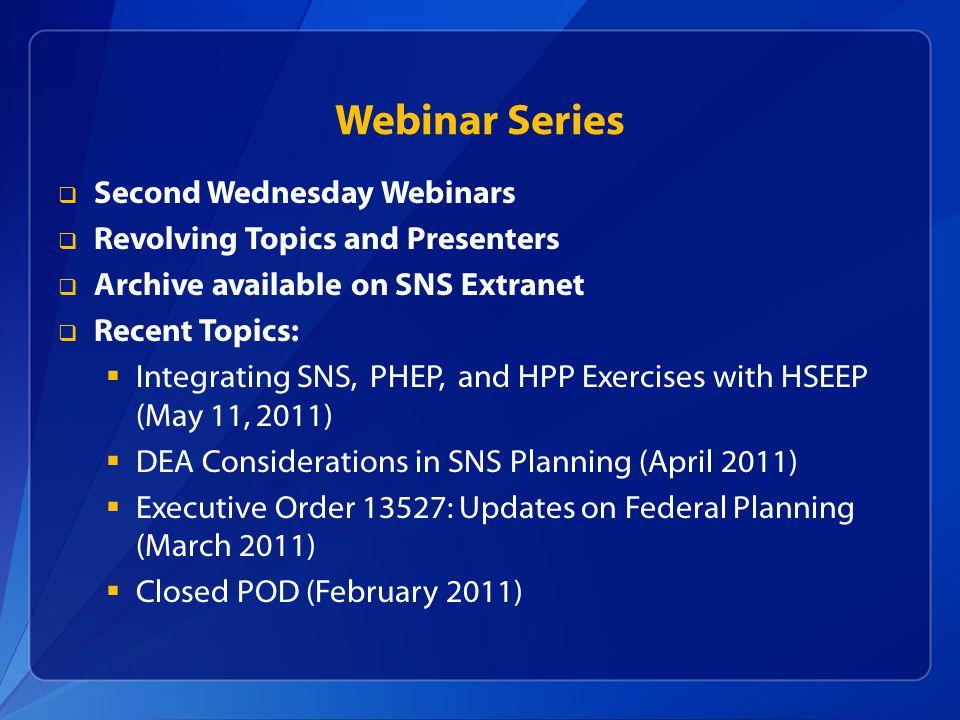 Webinar Series Second Wednesday Webinars