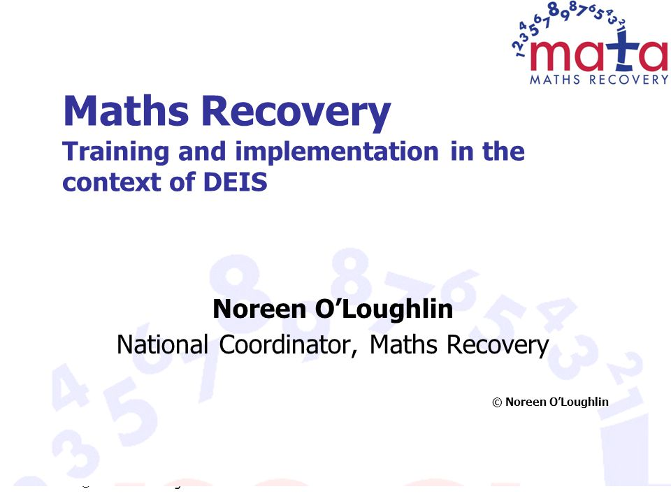 Maths Recovery Training and implementation in the context of DEIS