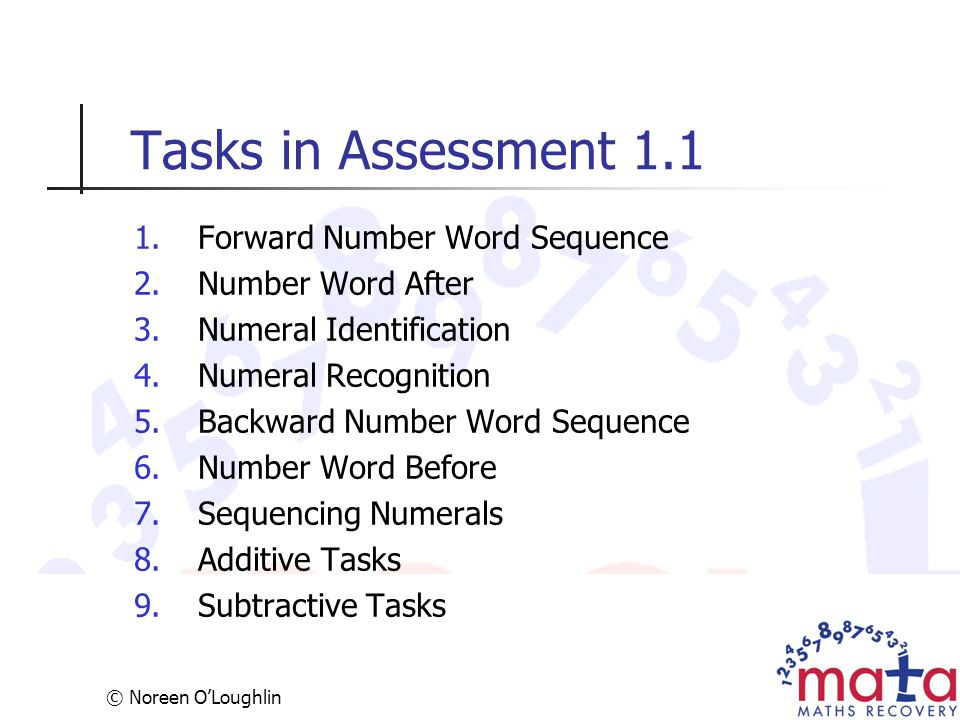 Tasks in Assessment 1.1 Forward Number Word Sequence Number Word After