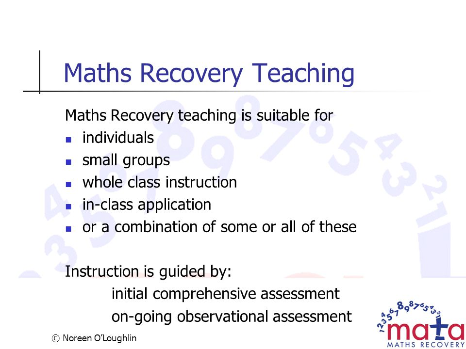Maths Recovery Teaching
