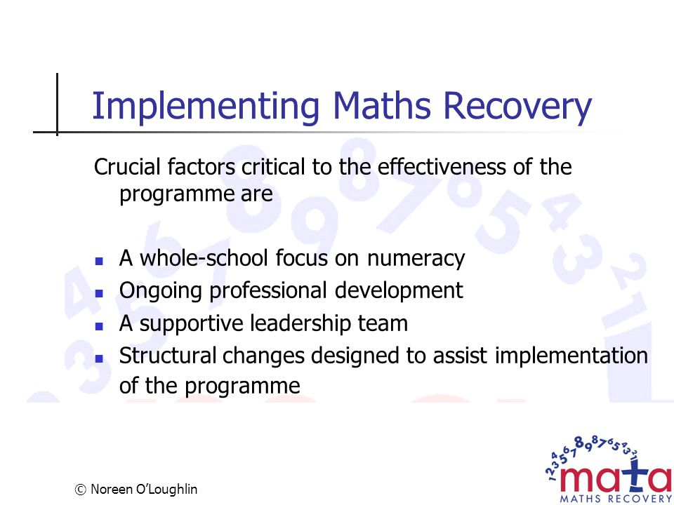 Implementing Maths Recovery