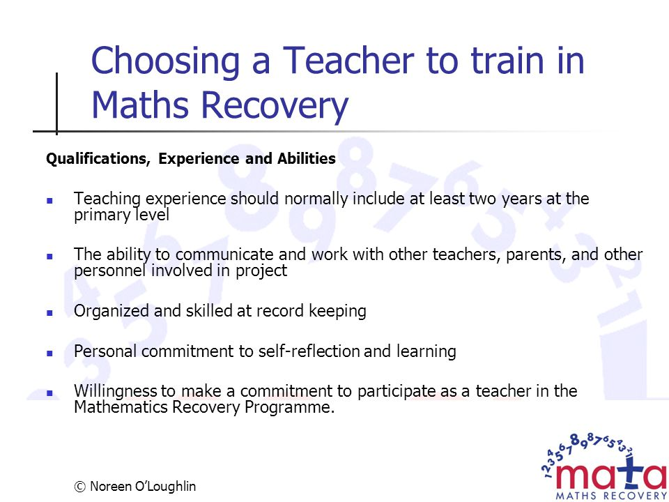 Choosing a Teacher to train in Maths Recovery