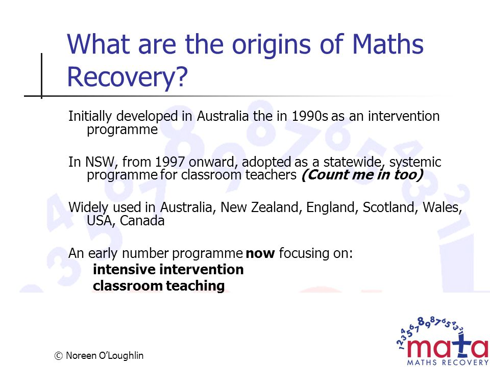 What are the origins of Maths Recovery