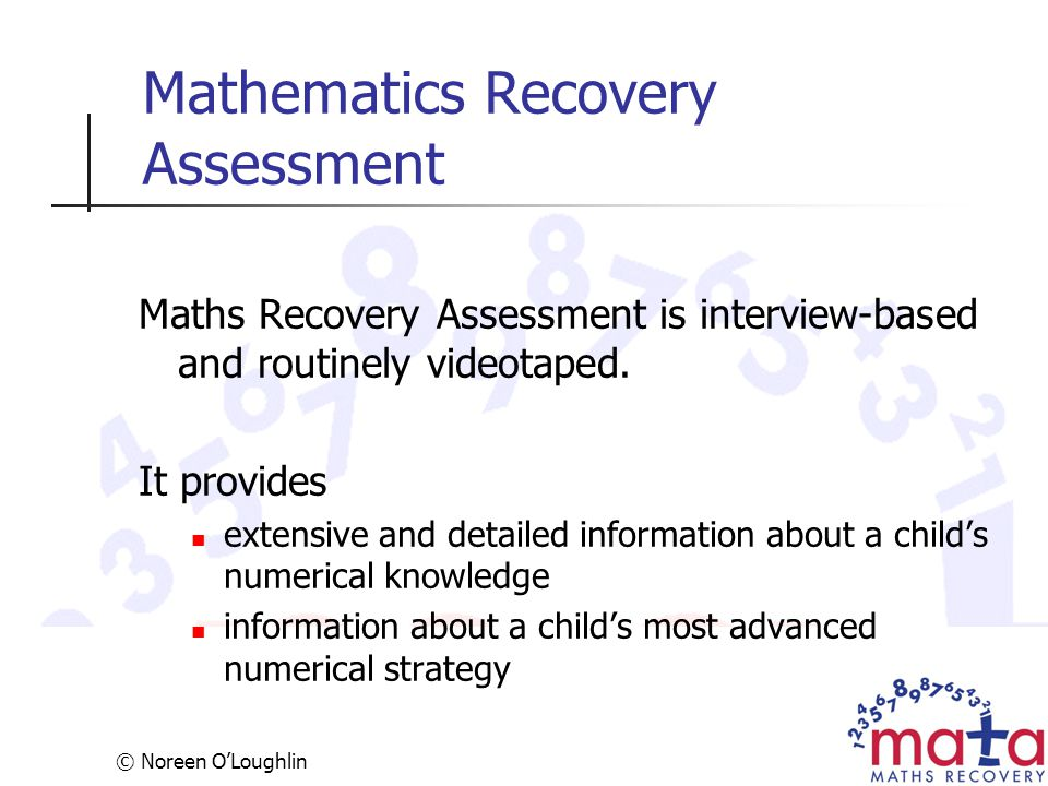 Mathematics Recovery Assessment