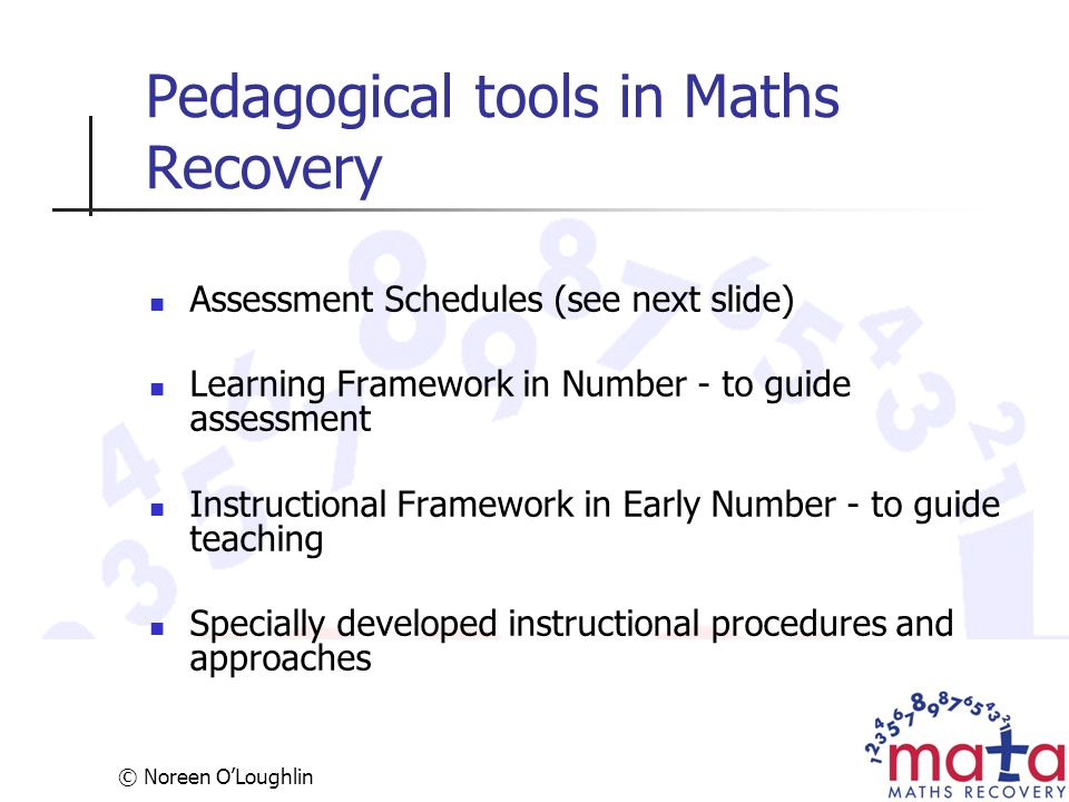 Pedagogical tools in Maths Recovery