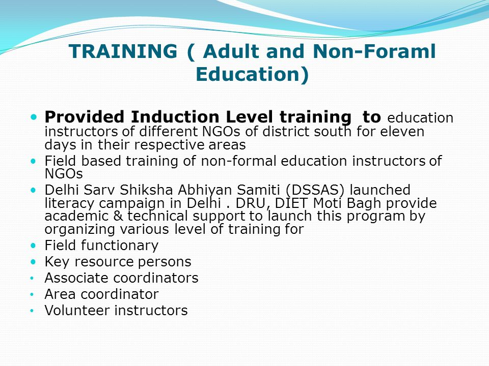 TRAINING ( Adult and Non-Foraml Education)
