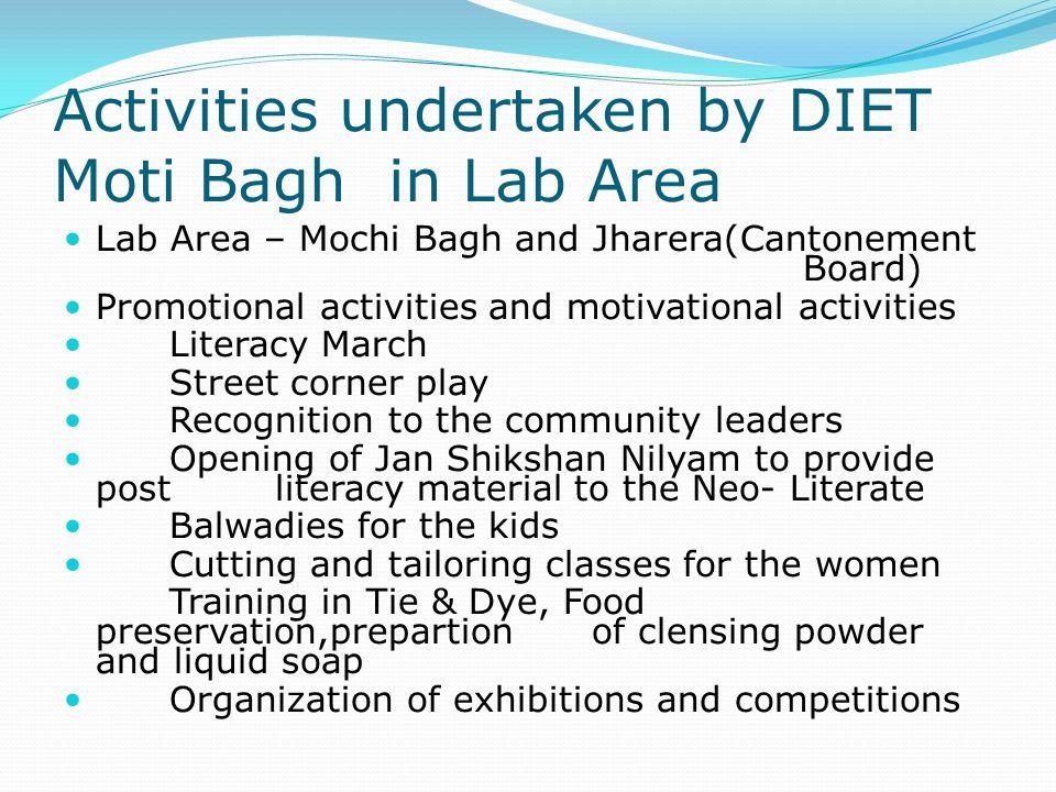 Activities undertaken by DIET Moti Bagh in Lab Area