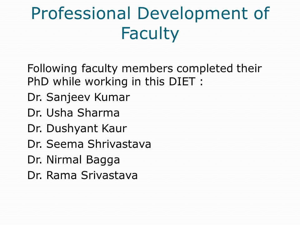 Professional Development of Faculty