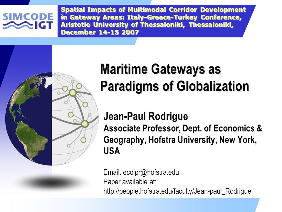 Maritime Gateways as Paradigms of Globalization