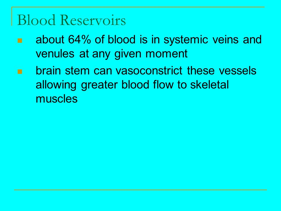 Blood Reservoirs about 64% of blood is in systemic veins and venules at any given moment.