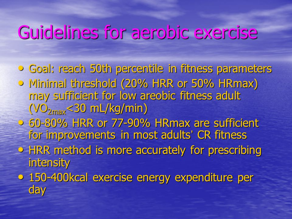 Guidelines for aerobic exercise
