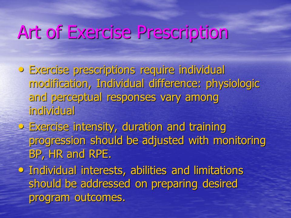 Art of Exercise Prescription