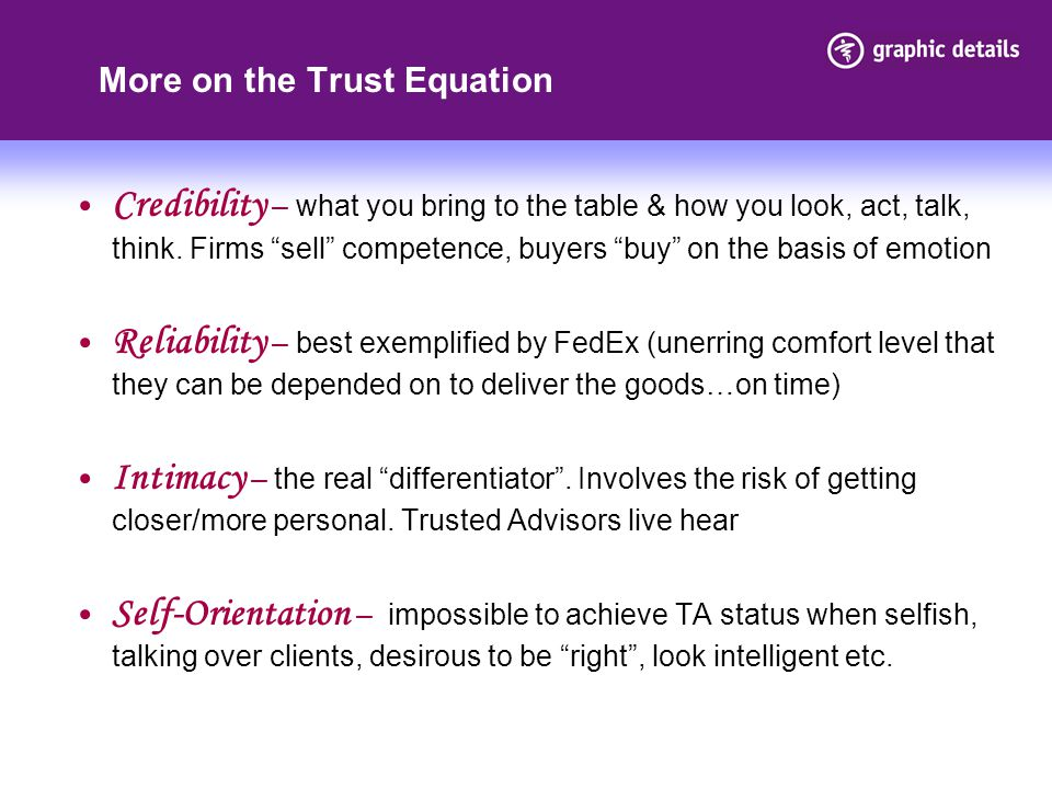 More on the Trust Equation