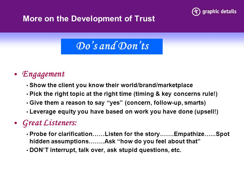 More on the Development of Trust
