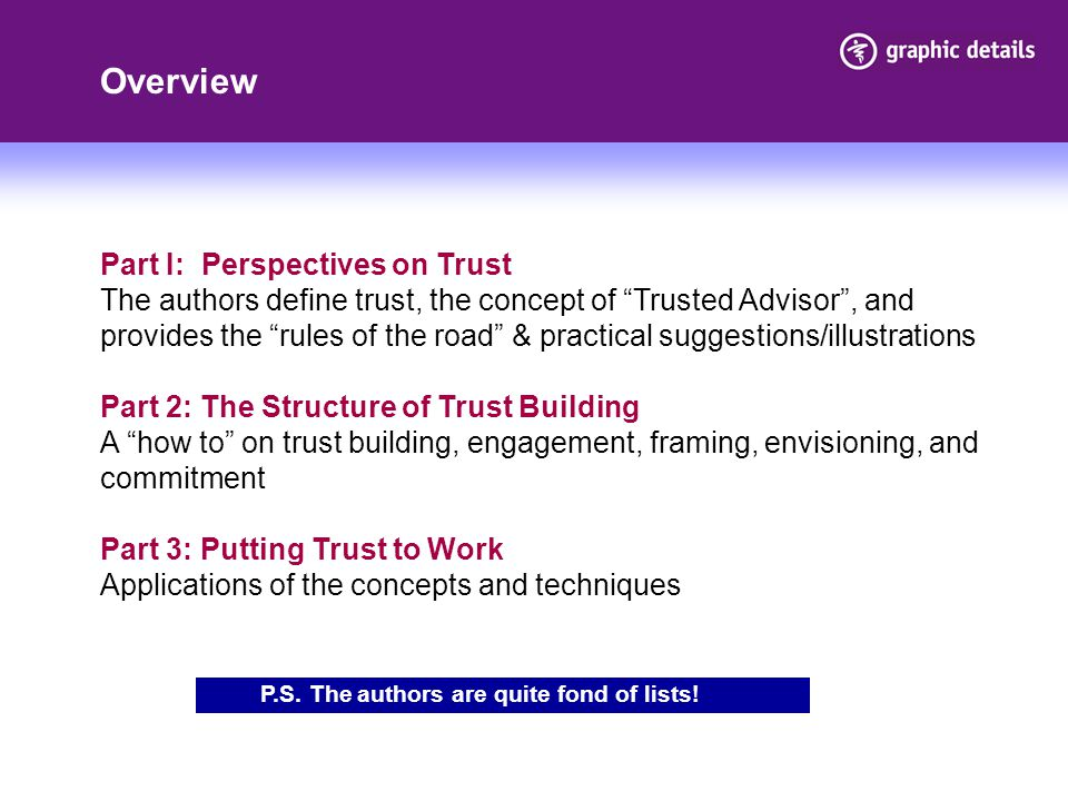 Overview Part I: Perspectives on Trust