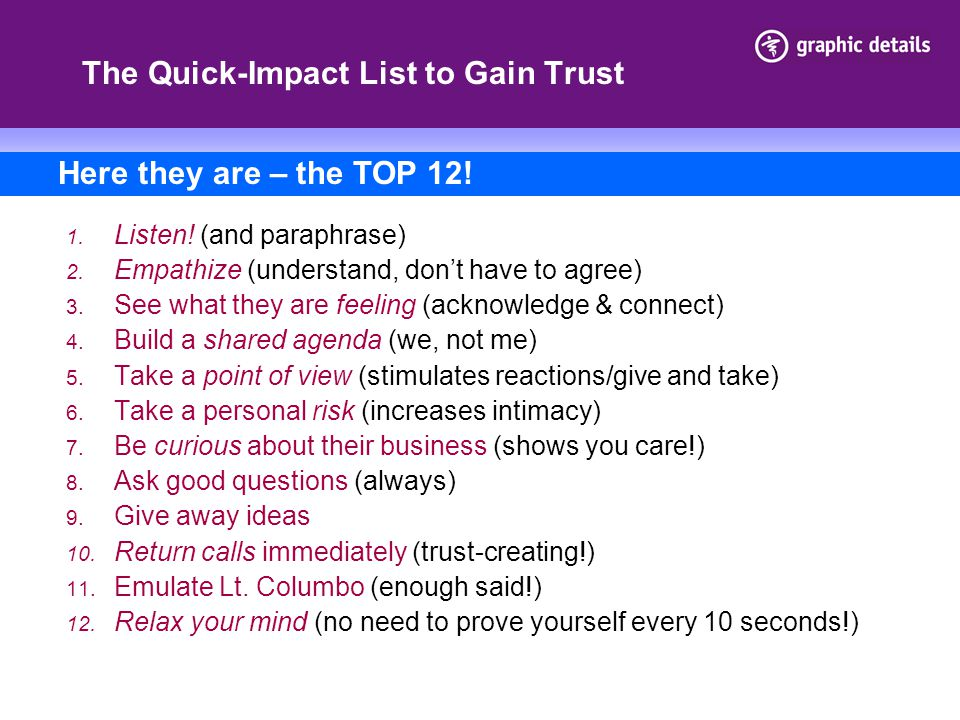 The Quick-Impact List to Gain Trust