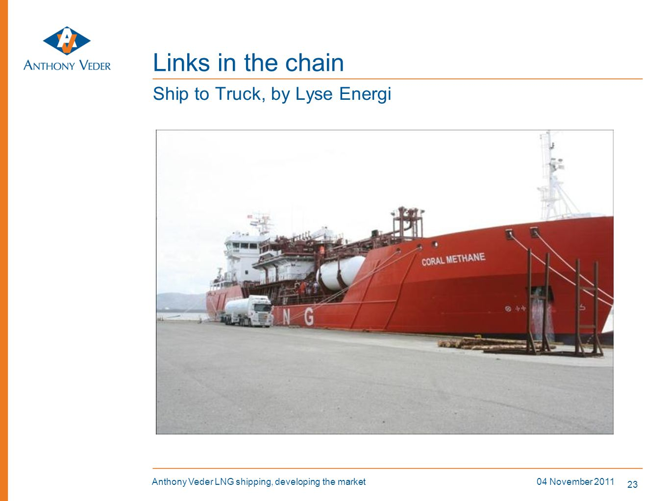 Links in the chain Ship to Truck, by Lyse Energi