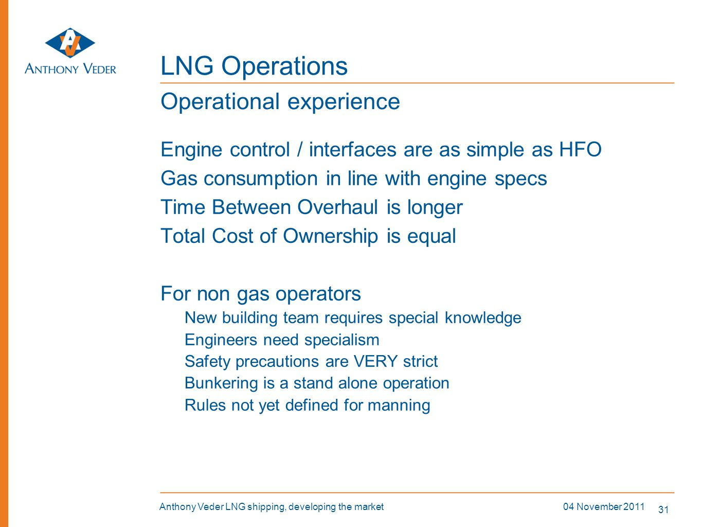 LNG Operations Operational experience