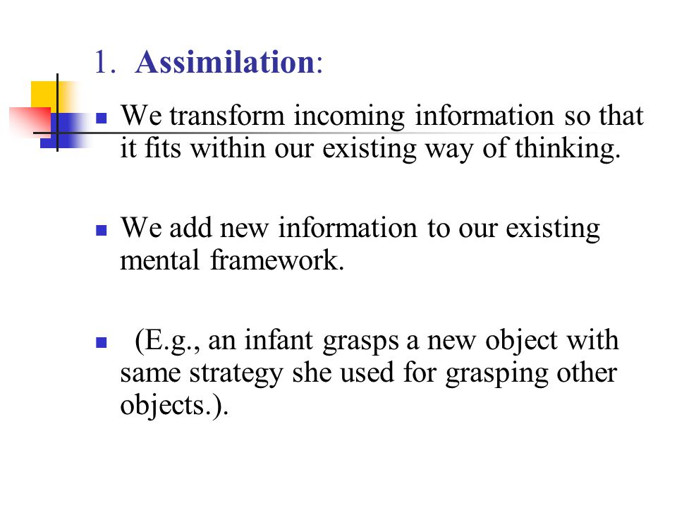 1. Assimilation: We transform incoming information so that it fits within our existing way of thinking.