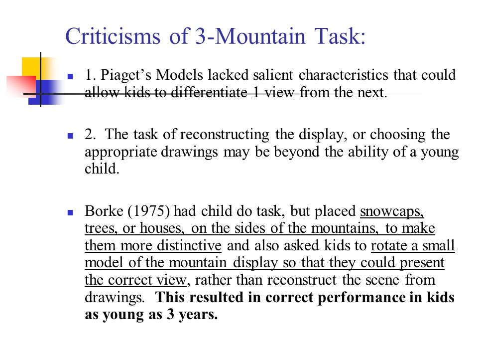 Criticisms of 3-Mountain Task: