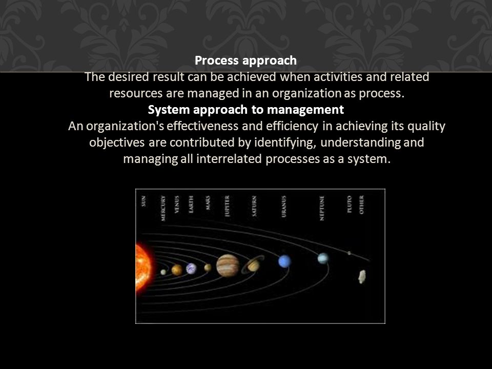 Process approach The desired result can be achieved when activities and related resources are managed in an organization as process.