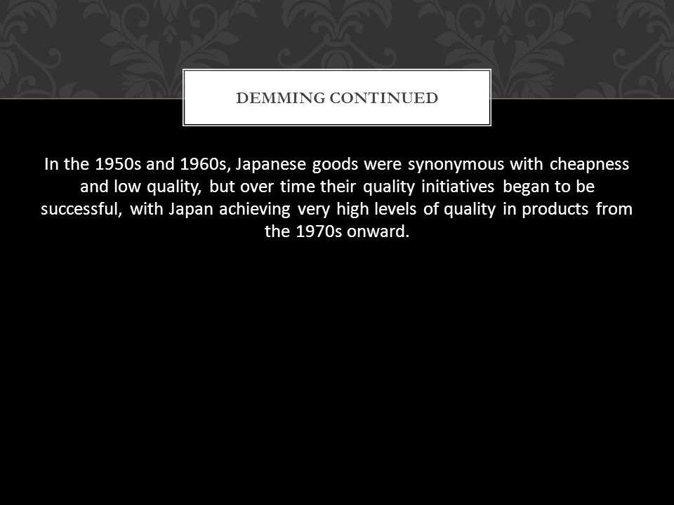 Demming Continued