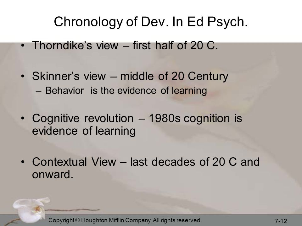 Chronology of Dev. In Ed Psych.