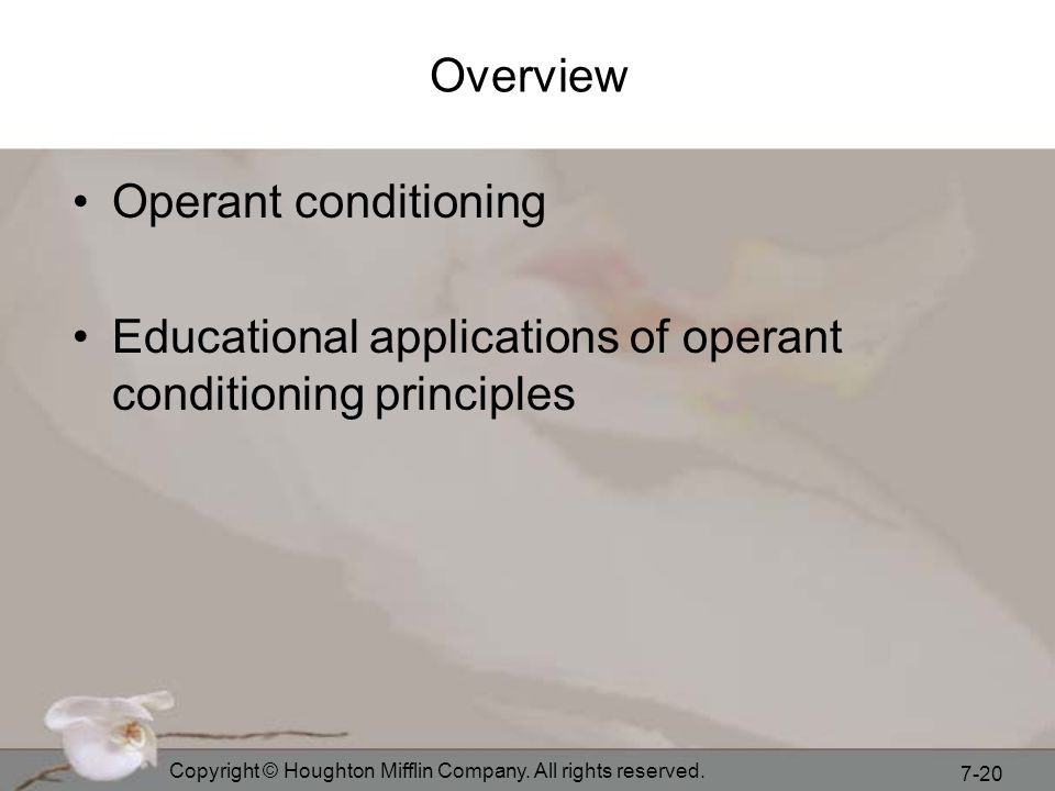 Educational applications of operant conditioning principles