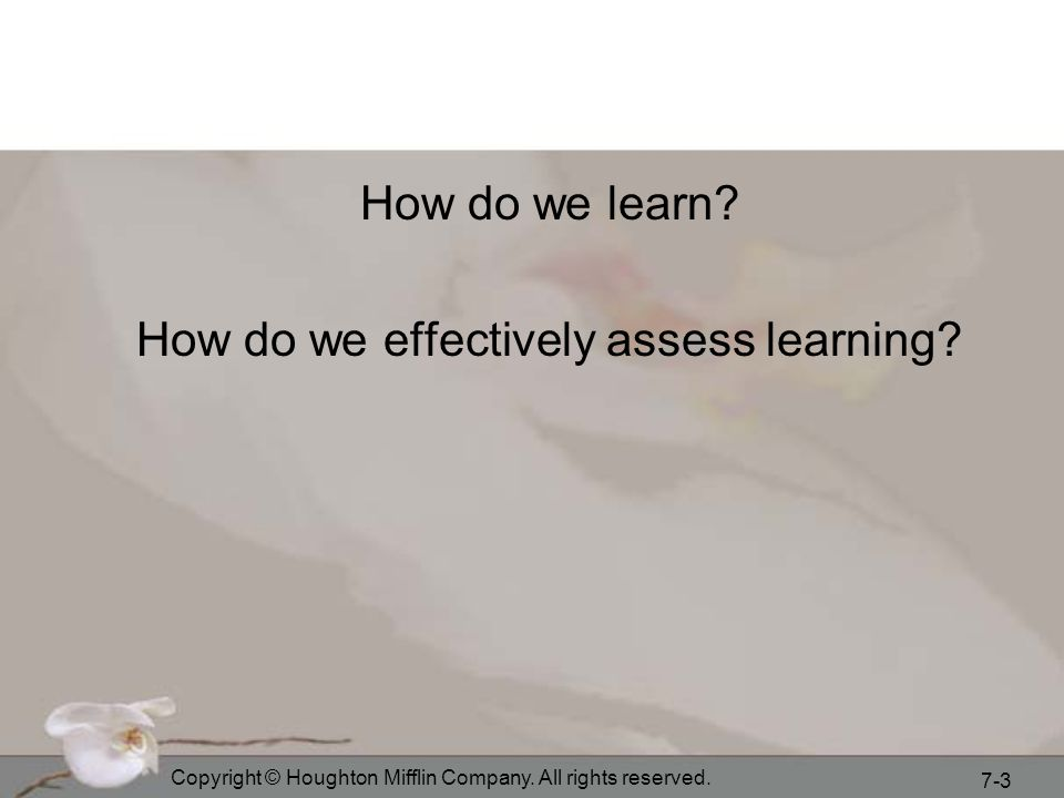How do we effectively assess learning