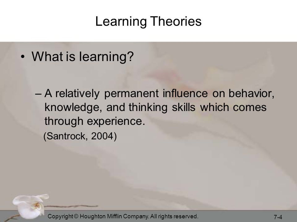 Learning Theories What is learning