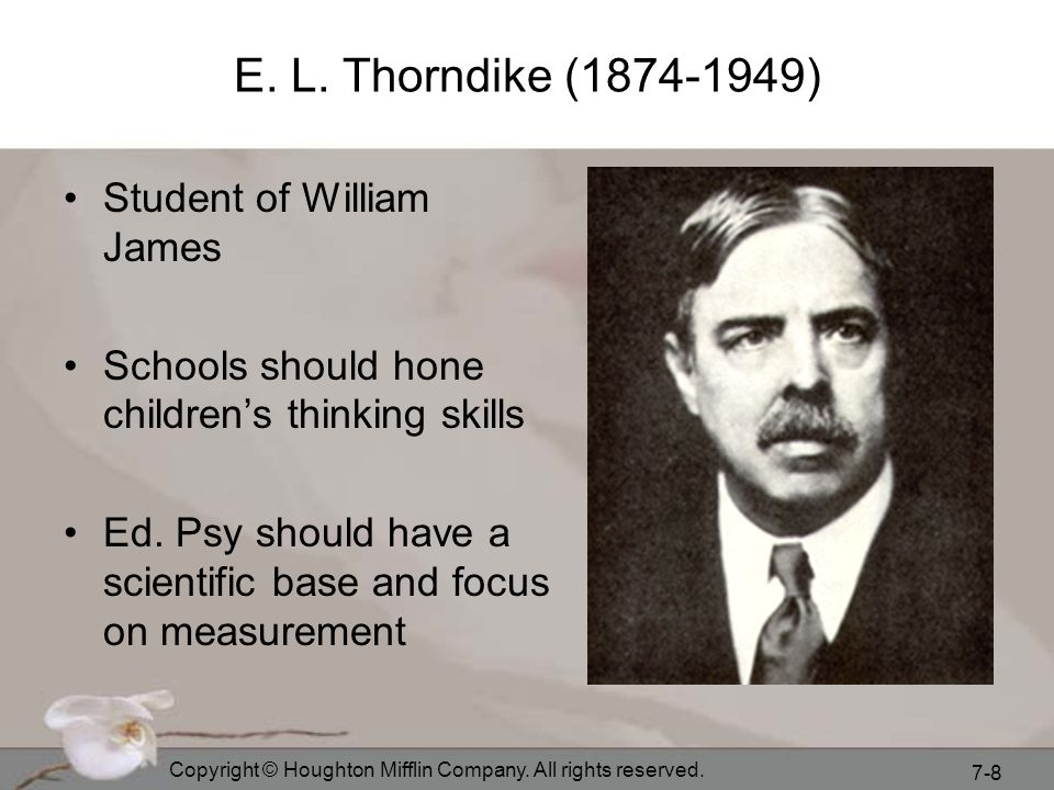 E. L. Thorndike (1874-1949) Student of William James