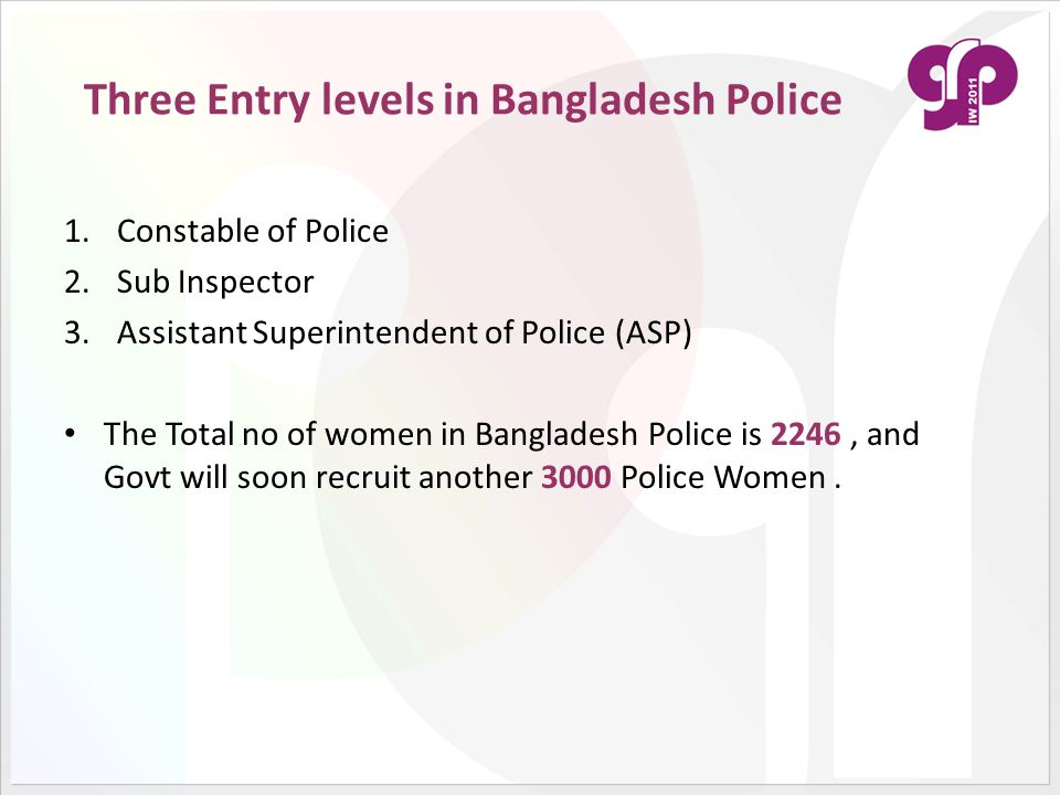 Three Entry levels in Bangladesh Police