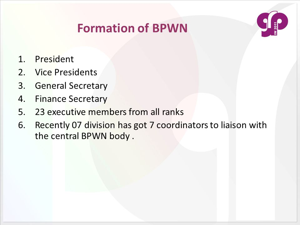 Formation of BPWN President Vice Presidents General Secretary