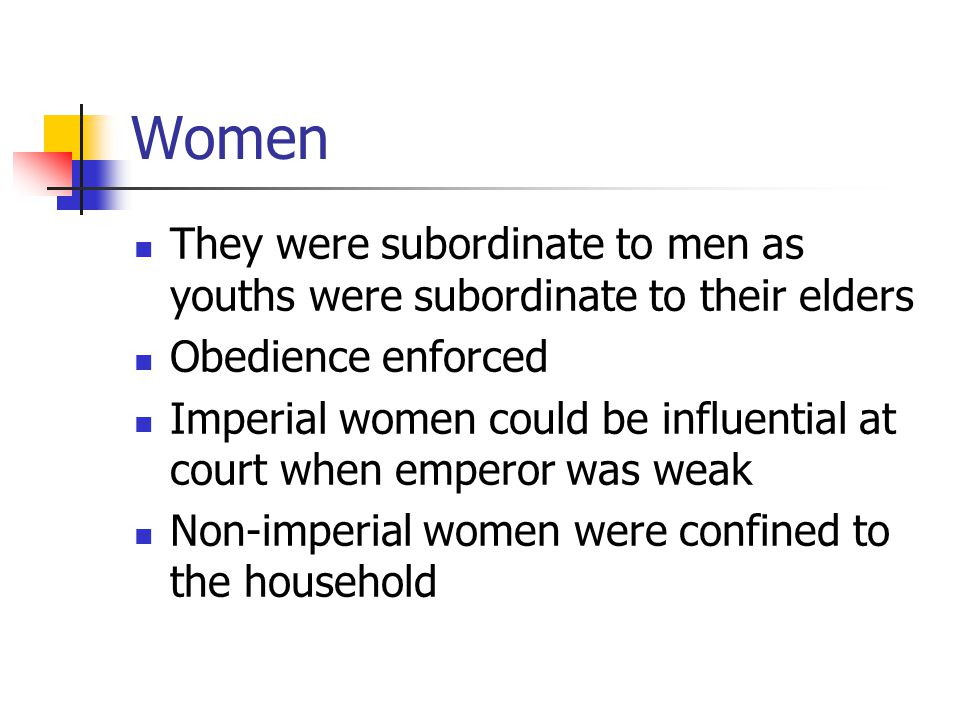 Women They were subordinate to men as youths were subordinate to their elders. Obedience enforced.