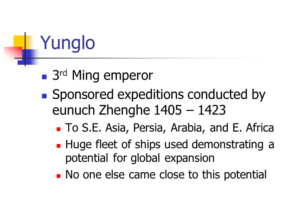 Yunglo 3rd Ming emperor. Sponsored expeditions conducted by eunuch Zhenghe 1405 – 1423. To S.E. Asia, Persia, Arabia, and E. Africa.