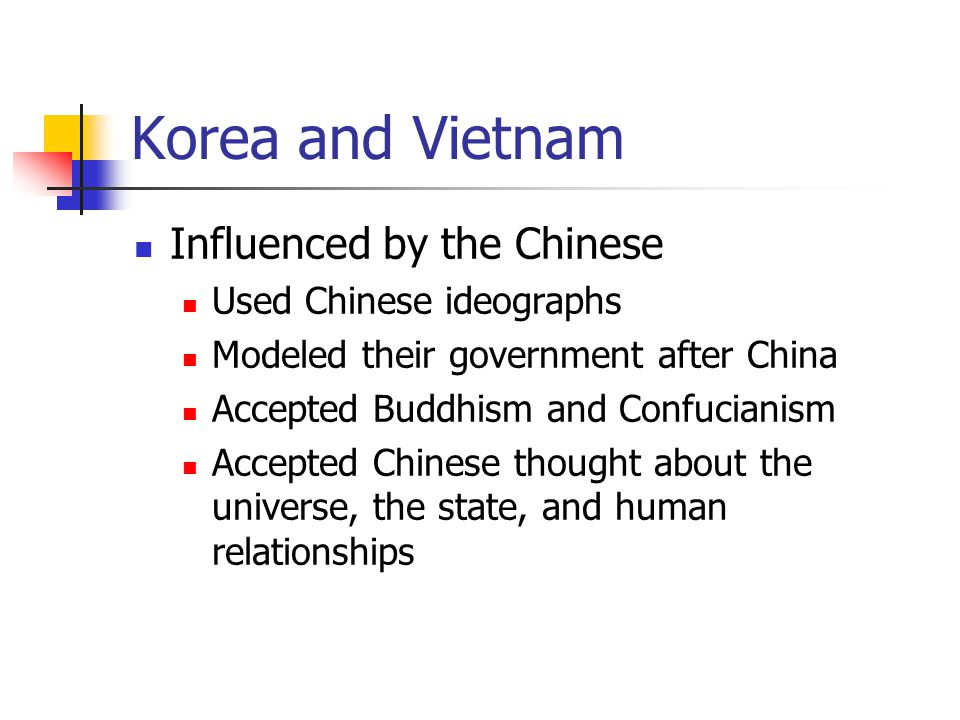 Korea and Vietnam Influenced by the Chinese Used Chinese ideographs