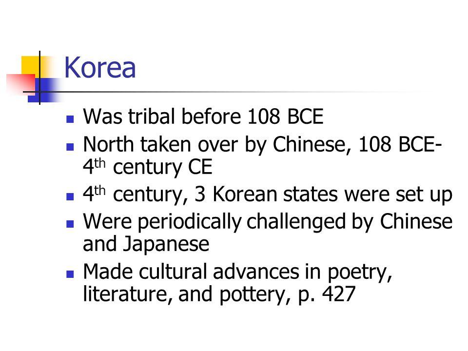 Korea Was tribal before 108 BCE