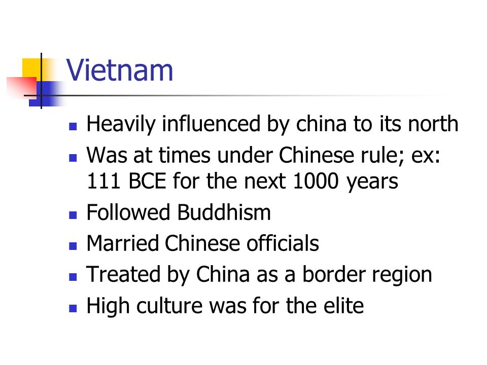 Vietnam Heavily influenced by china to its north