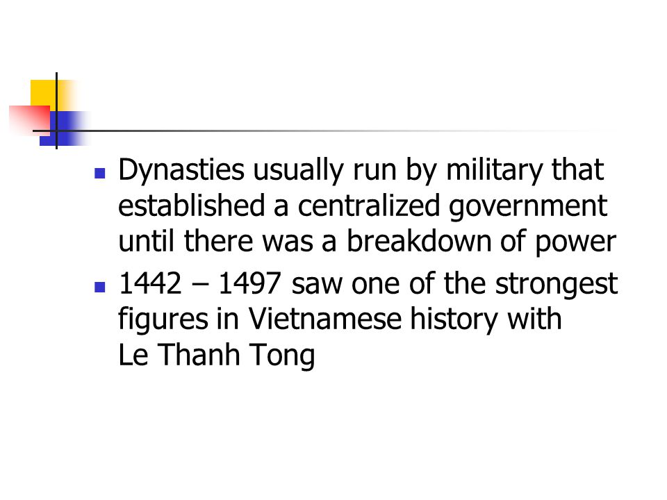 Dynasties usually run by military that established a centralized government until there was a breakdown of power