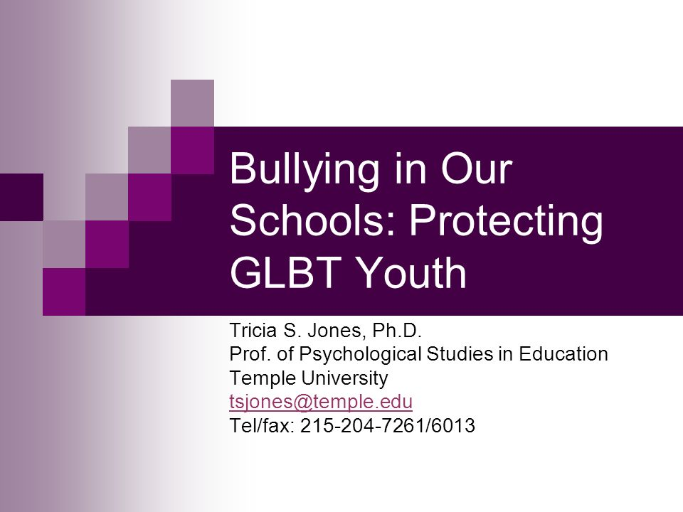 Bullying in Our Schools: Protecting GLBT Youth