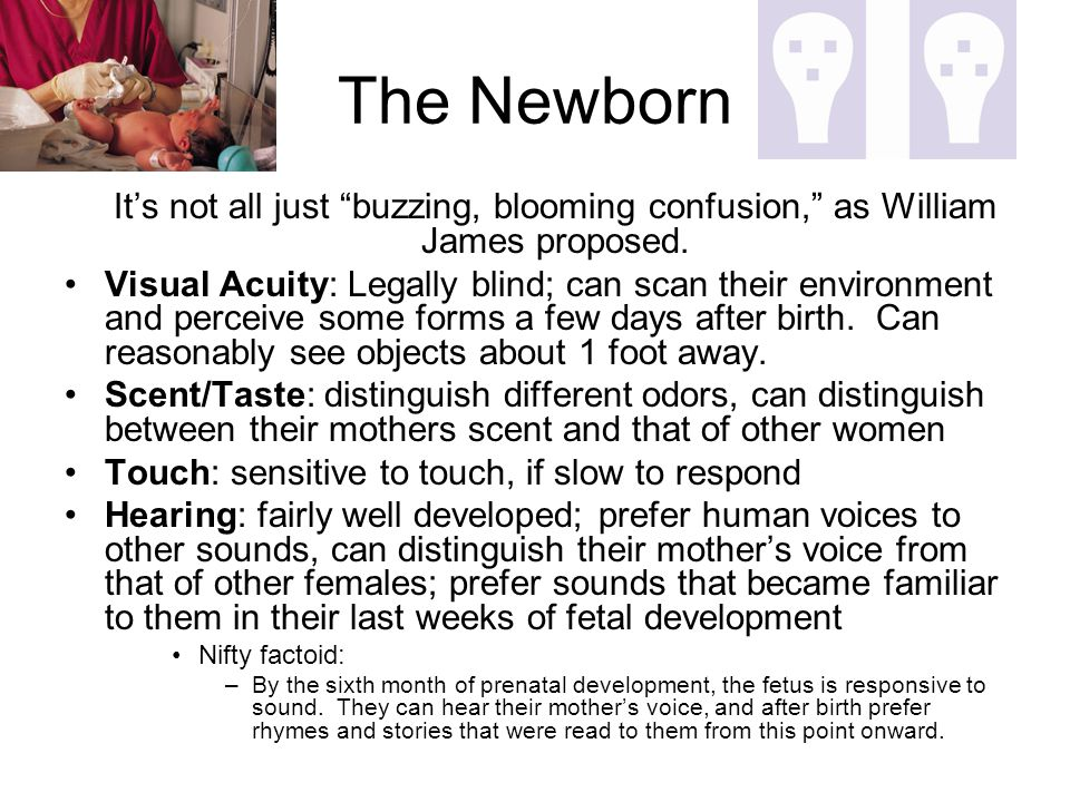 The Newborn It's not all just buzzing, blooming confusion, as William James proposed.
