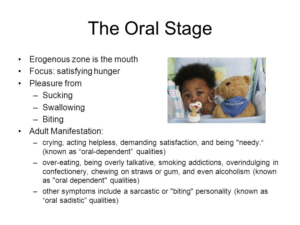 The Oral Stage Erogenous zone is the mouth Focus: satisfying hunger