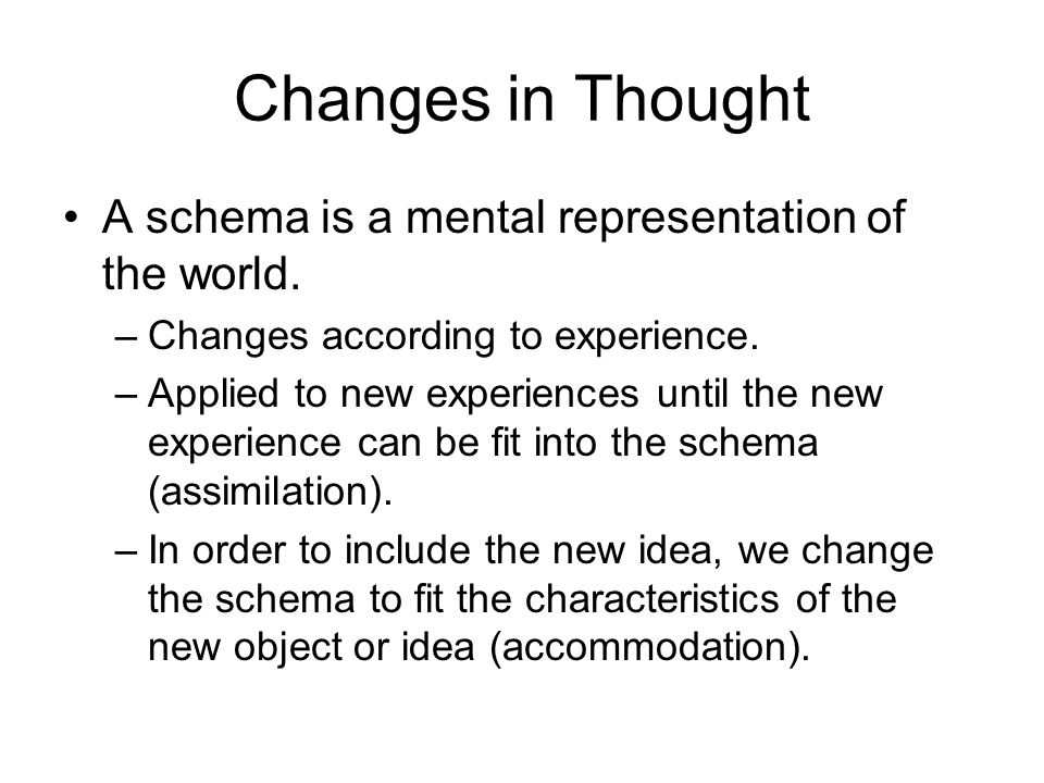 Changes in Thought A schema is a mental representation of the world.