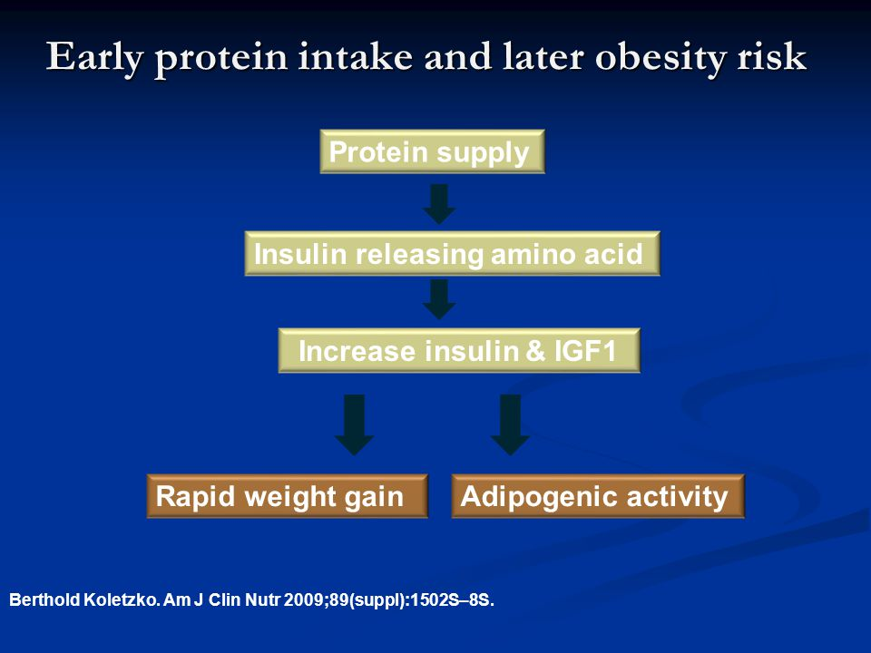 Early protein intake and later obesity risk