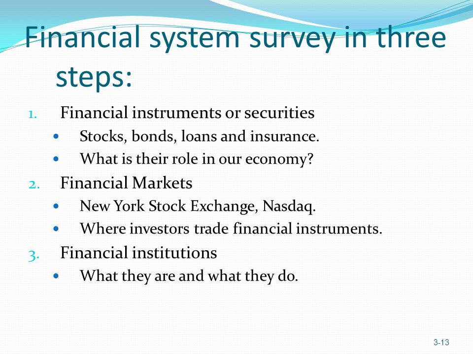 Financial system survey in three steps: